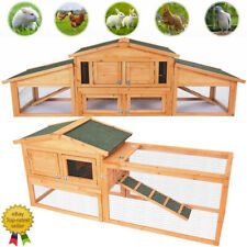 Wooden Rabbit Hutch Cage Chicken Coop House Bunny Hen Pet Animal Natural Wood Us