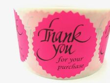 "100 THANK YOU FOR YOUR PURCHASE 2"" STICKER Starburst PINK NEON NEW THANK YOU NEW"
