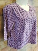 Kim Rogers Womens 2X Purple Print V-Neck Casual Pullover Top 3/4 Sleeve