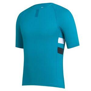 NEW Rapha Men's Cycling Brevet Base Layer XL Short Sleeves Teal White RCC Hi Vis