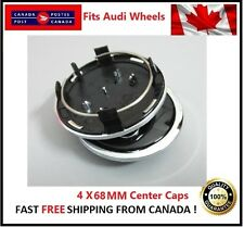 Fits Audi Wheels CENTER WHEELS RIMS HUBS CAPS 68MM 69MM BLACK Silver Circle