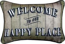 """WELCOME TO OUR HAPPY PLACE Throw Pillow 12.5"""" x 8.5"""", by Manual Weavers"""