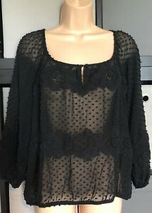 Mint Velvet Black Lace Gypsy Blouse Top Size 16 Summer Sheer