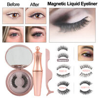 Magnetic Eyeliner Eyelashes False Eye Lashes Extension and Tweezers Mirror Set