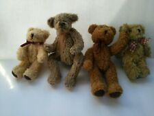 "Four Vintage Miniature Teddy Bears 4"" to 5"" Jointed 1 Ty 3 Unbranded"
