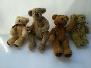 """Four Vintage Miniature Teddy Bears 4"""" to 5"""" Jointed 1 Ty 3 Unbranded"""