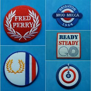 COLLECTION OF FIVE INDIVIDUAL SEW ON / IRON ON PATCHES:- MOD, SCOOTER, PERRY