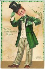 """Top O' the Mornin' To You"" Artist Signed Clapsaddle St. Patrick's Day Postcard"