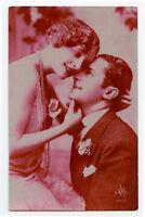 c 1930 Glamour Glamor French  FLAPPER ROMANCE Deco photo postcard