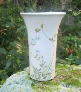 White Ceramic Vase with Floral Pattern