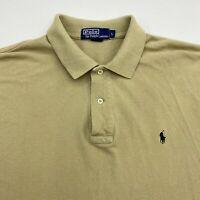 Polo Ralph Lauren Polo Shirt Mens Large Tan Short Sleeve 100% Cotton Hi Low Hem