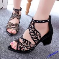 Fashion Women's Sandals Chunky Mid Heel Rhinestones Dress Shoes Casual 2019 Girl