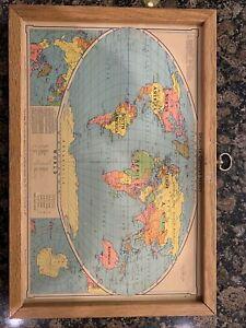 Vintage Denoyer-Geppert Framed Map of the United States & World Salesman Sample
