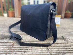 Genuine Leather messenger Real satchel Laptop bag soft briefcase shoulder Black