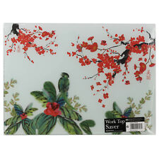 Kitchen Glass Work Top Worktop Saver Protect Table Protection Floral Design New