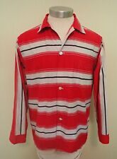 VTG 40s 50s Pilgram Stripe Ricky Pajama Top Red Gray Navy Shirt M Medium 38-40