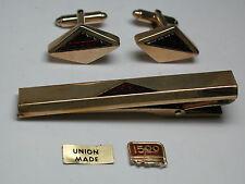 Antique KREISLER 12k Yellow Gold GF Red Ruby Cufflinks & Tie Bar Set  #EST115