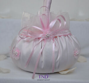 WEDDING CEREMONY SATIN FLOWER GIRL BASKET WITH ORGANZA FLOWERS AND PEARLS ACCENT