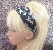 BLACK SKULL CROSSBONES PIRATE JERSEY STRETCH HAIR HEAD BAND HOLIDAY GYM DANCE