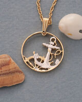 """Spainish Pendant and Necklace Hand Cut Anchor Coin, 3/4"""" diameter, ( # 279 )"""