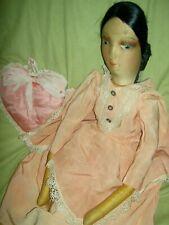 Pretty, c1930 antique cloth, egghead boudoir bed doll, geat Art Deco hair style