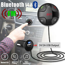 Wireless Bluetooth 4.2 Handsfree Car Kit FM Transmitter MP3 Player & USB Charger