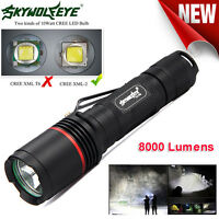 XM-L L2 LED 5Mode Zoomable 8000 Lumens Tactical Flashlight Torch Lamp 18650