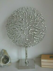 Large Metal Tree Of Life -Coral Sculpture On Stand - Silver Tone - 53cm