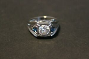 Antique Blue Sapphire & CZ 14KT GE Men's 12 1/2 White Gold Tone Beautiful Ring