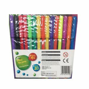 30 Felt Tip Pens Fine Fibre Tipped Drawing Markers School Colour Art New