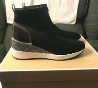 Womens Size 9 Michael Kors Skyler Sneaker Booties Black Gunmetal Crystal Slip On
