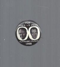 """1968 HUBERT HUMPHREY & EDMUND MUSKIE JUGATE PICTURE b/w 7/8"""" CELLO BUTTON"""
