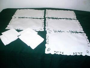 EXQUISITE LINEN CUTWORK EMBROIDERY PLACEMATS & NAPKINS