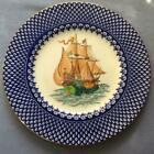 """Wedgwood sailing ship hand painted with blue trim 10 1/2"""" dnner plate W759 #1"""