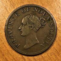 1840 Canada NOVA SCOTIA Halfpenny Token Queen Victoria KM# 3