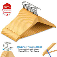 2 - 300 Wooden Coat Hangers Suit Trouser Garments Clothes Coat Hanger Bar NEW