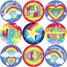 144 Rainbows and Stars 30 mm Reward Stickers for School Teachers, Parents