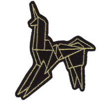 Origami Unicorn Gold Black Blade Runner Genetic Replicants Jacket Patch