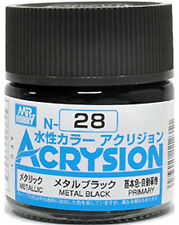 GSI CREOS GUNZE MR HOBBY ACRYSION ACRYLIC N028 N28 Metal Black COLOR PAINT 10ml