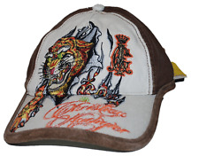 Christian Audiger Forever Kids Brown & Tan Youth Tattoo Tiger Cap Hat 6 - 13 yrs