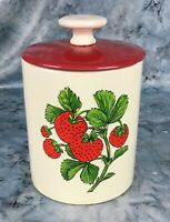Vintage Stoneware Pottery Handpainted Strawberry Canister White w/ Red Lid USA