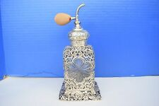 BEAUTIFUL Antique Sterling Silver Perfume Bottle w Atomizer.