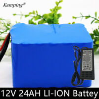 12V 24000mAh 3S li-ion battery + 12V 3A charger for outdoor power fishing lights