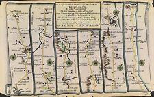 C1719 mapa de carreteras por Gardner, Shrewsbury Wrexham Posada Chester Flint Inglaterra