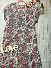 East Artisan Anokhi 16 hand painted cotton floaty summer holiday dress midi VGC
