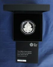 """2014 Silver Piedfort Proof £5 Crown coin """"Queen Anne"""" in Case with COA   (M4/15)"""