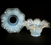 """PAIR Antique EARLY Electric Blue Tint Opalescent Glass Lamp Shades 2-1/4"""" Fitter"""