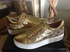 J/Slides Alabama WOMENS Gold Leather Sneaker Shoe 7M MSRP $145