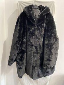 YOURS Black Faux Fur Hooded Coat Size UK 26-28