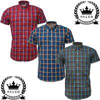Relco Mens Check Short Sleeve Shirt Button Down Collar Mod Tartan Red Blue Green